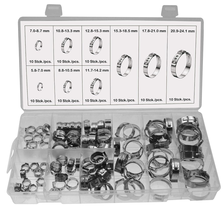 10 x Universal 1 Ohr Schlauchschellen Leitungsschelle Schlauchklemmen 7.0-8.7 mm