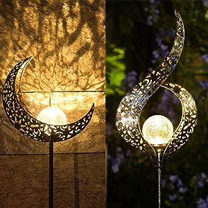 Homeimpro Outdoor Solar Lights Garden Crackle Glass Globe Stake Lights,Waterproof LED Lights for Garden,Lawn,Patio or Courtyard(Moon&Flower)
