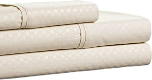Brushed Microfiber Sheets Set- 3 Piece Hypoallergenic Bed Linens with Deep Pocket Fitted Sheet and Embossed Design by Lavish Home (Champagne, Twin)