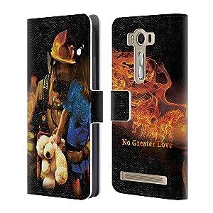 Official Jason Bullard No Greater Love Fireman Rescue Firefighter Leather Book Wallet Case Cover For Asus Zenfone 2 Laser ZE500