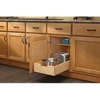 rev a shelf 4wdb 15 medium wood base cabinet pull out drawer home kitchen. Black Bedroom Furniture Sets. Home Design Ideas