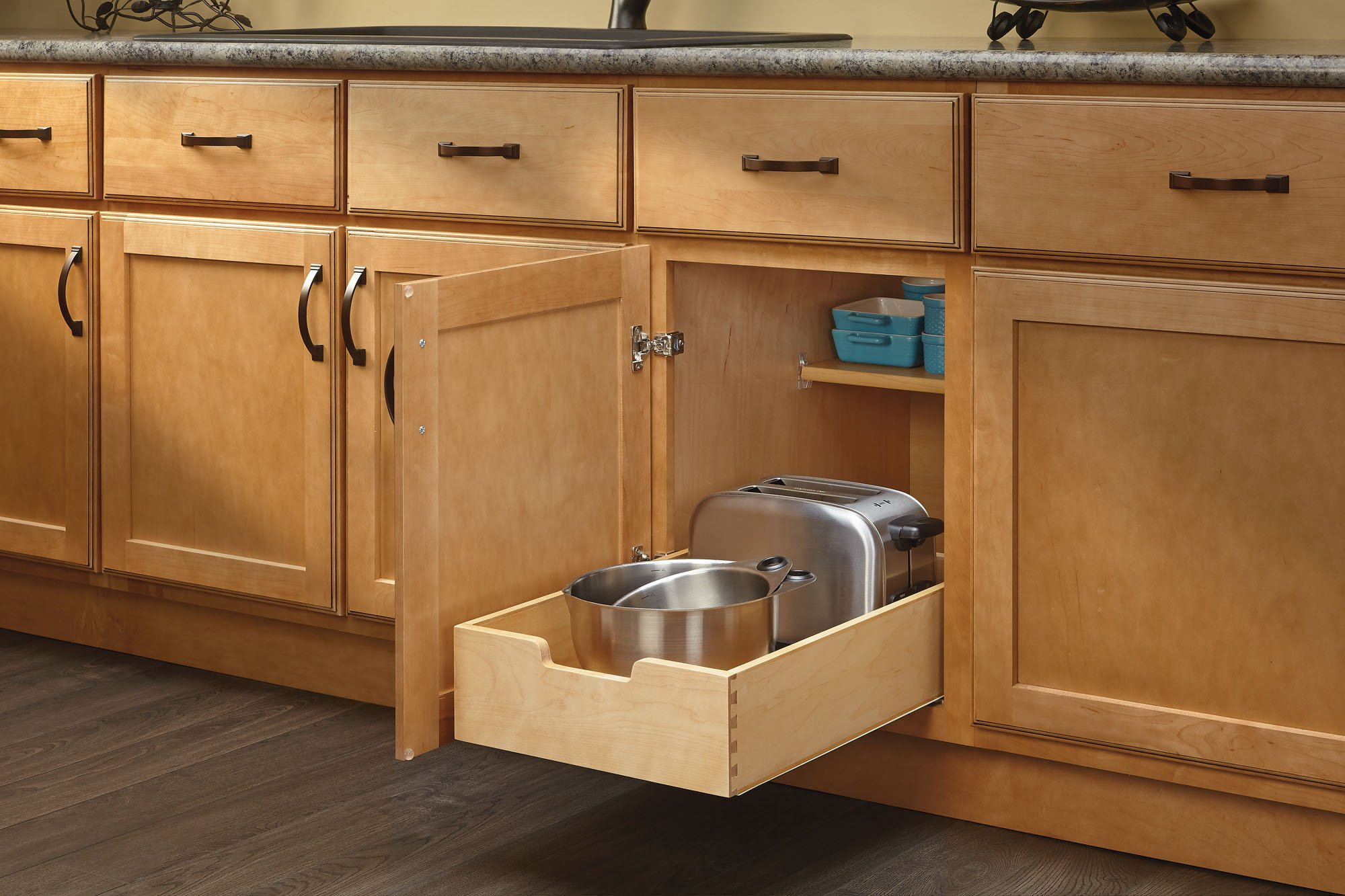 Rev-A-Shelf 4WDB-15 - Medium Wood Base Cabinet Pull-Out Drawer