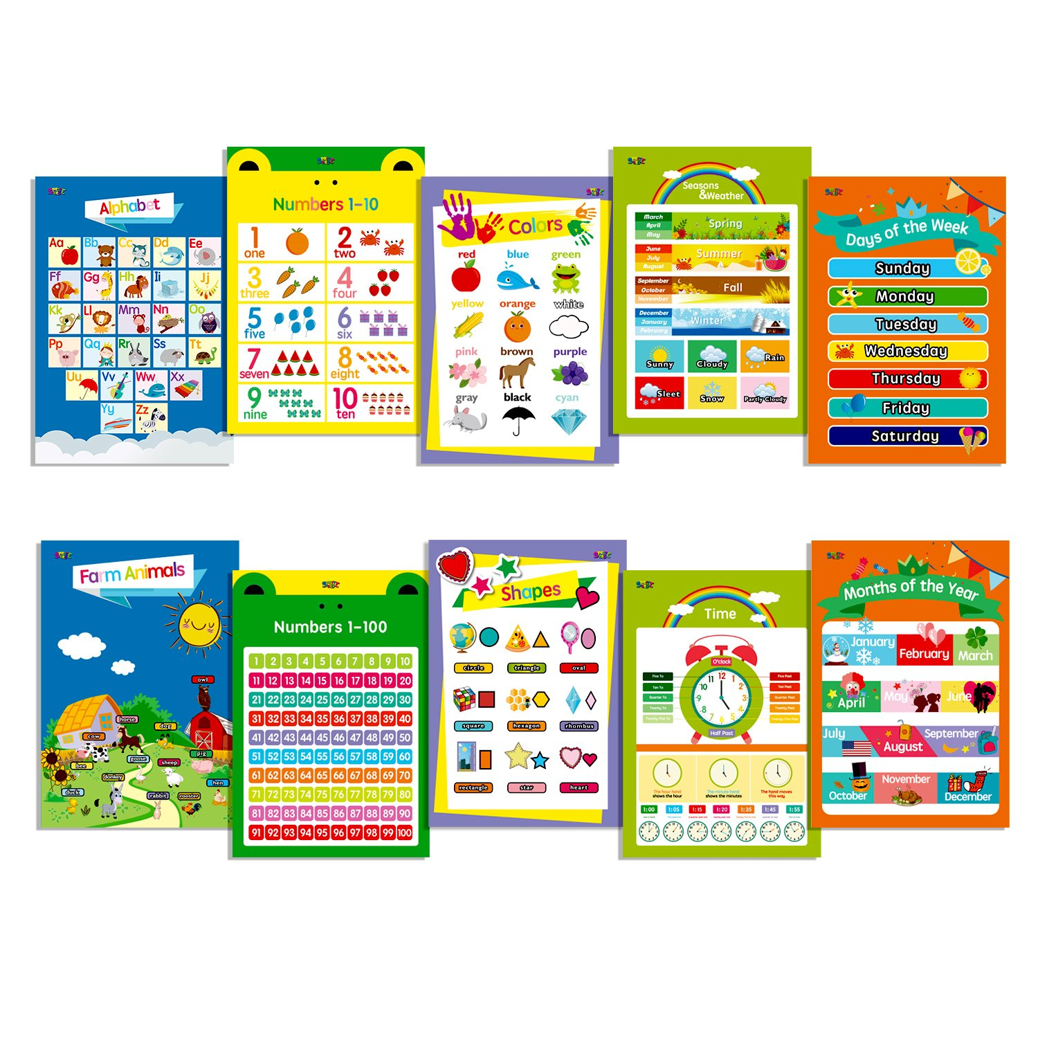 "10 Educational Posters für Toddlers,13"" X 19"",Includes: Alphabet, Farm Animals, Colors, Shapes, Days von die Week, Months von die Year,Number 1-10,Numbers 1-100,Seasons&Weather,Time"