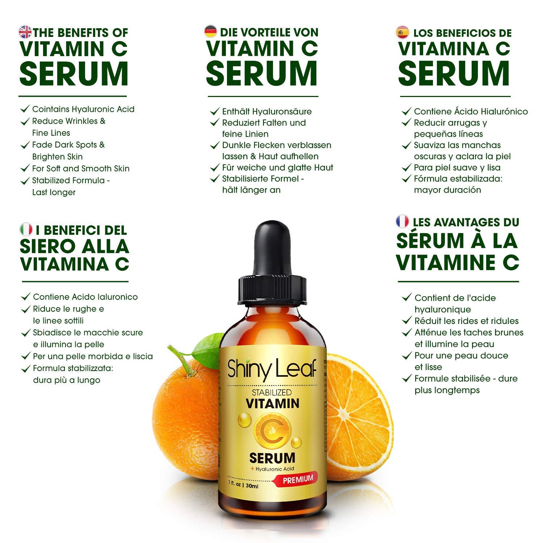 Serum Vitamina C con ácido hialurónico para rostro, sérum antioxidante, antienvejecimiento, antiarrugas, fórmula estabilizada, no irritante para una tez más ...