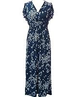 Plum Feathers Poly Span Summer Prints Maxi Dress