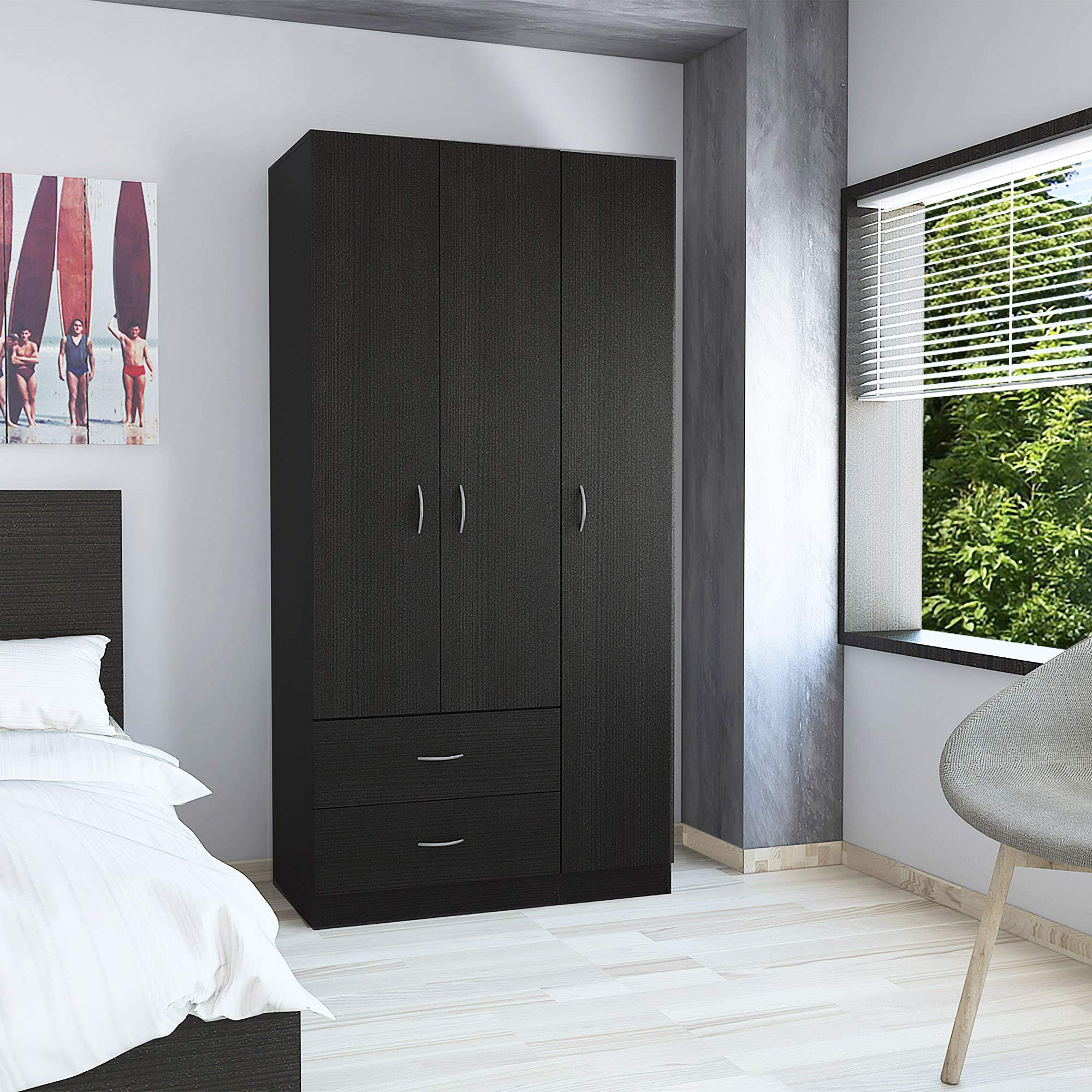 Tuhome Furniture Austral 3 Door Armoire Black by Tuhome Furniture