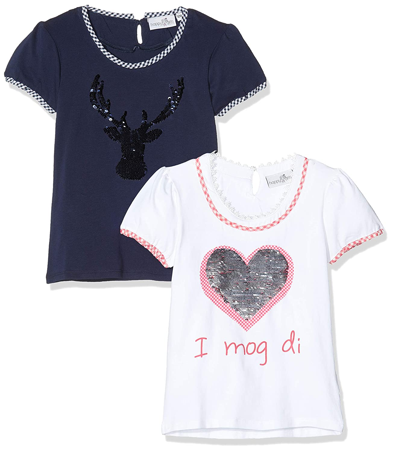 Happy Girls T-Shirt Girocollo Bambina Pacco da 2