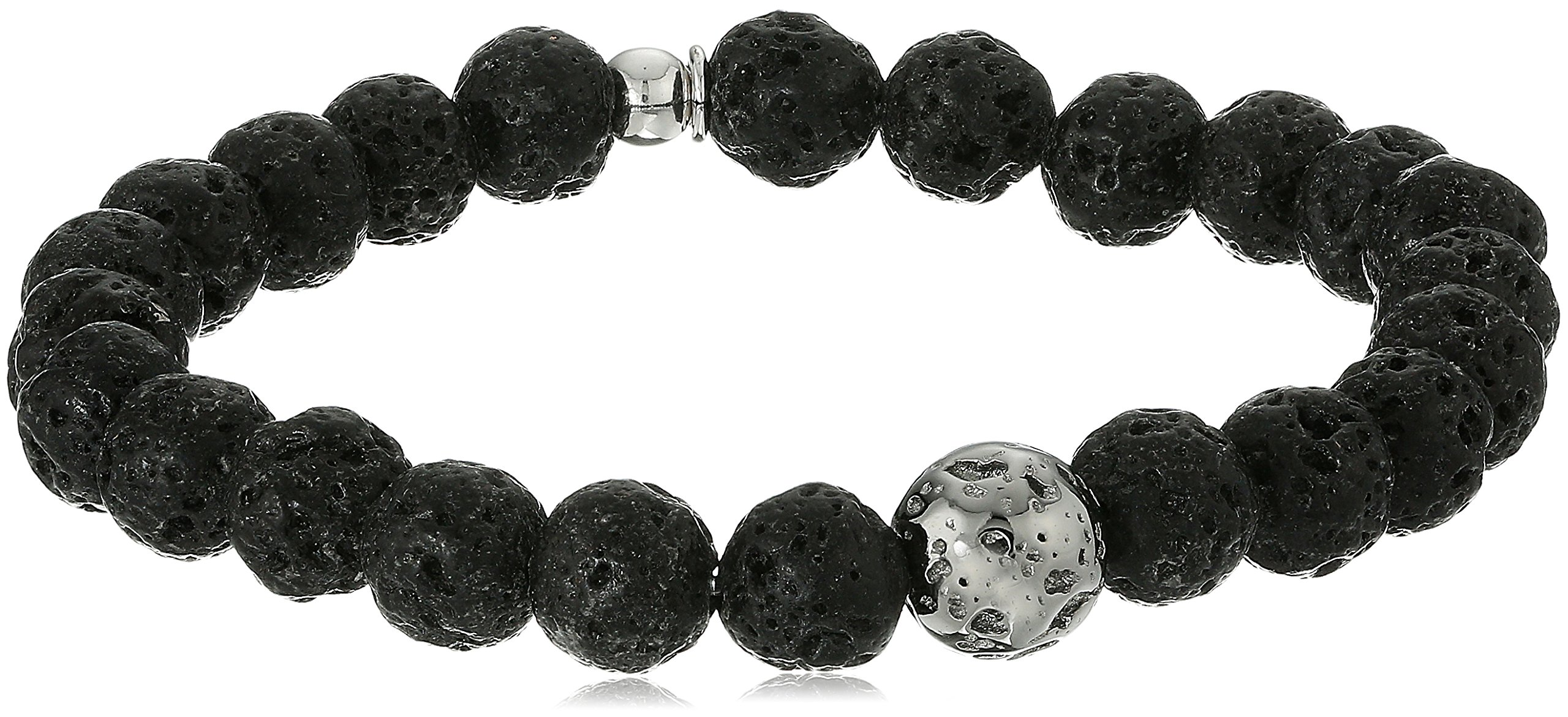 Tateossian Asteroid Ruthenium Silver Lava Beads Black Bracelet, Large