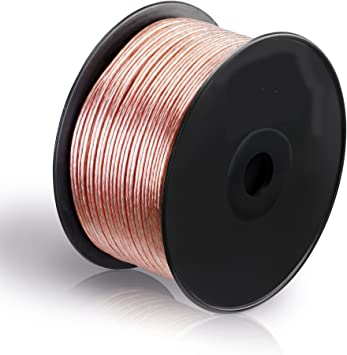 TALLA 0,75mm² - 100m. MANAX® cable del altavoz 2 x 0,75 mm² 100 m transparente bobina