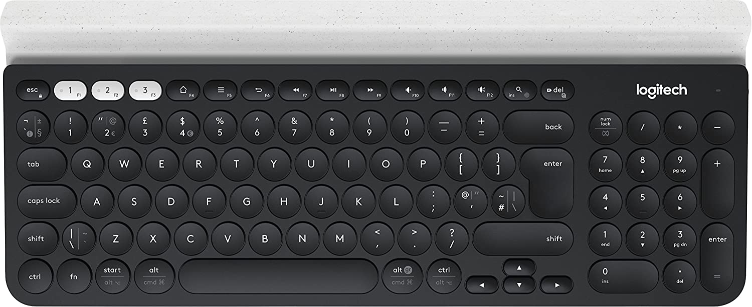 Logitech K780 Teclado Inalámbrico Multi-Dispositivos para Windows, Apple, Android o Chrome, 2,4 GHz y Bluetooth, Tamaño Normal, PC/Mac/Portátil/Smartphone/Tablet, Disposición QWERTY Italiano - Negro