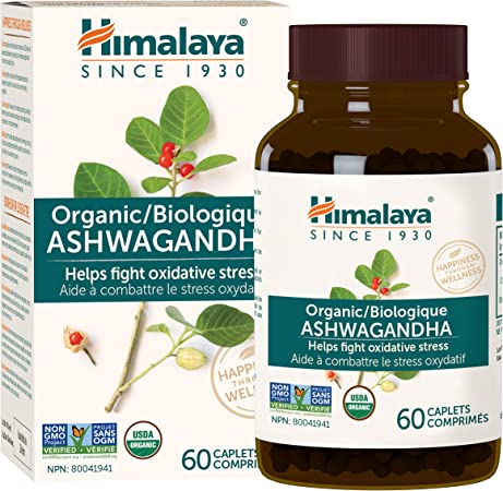 Himalaya Organic Ashwagandha, Natural Stress & Anxiety Relief, Energy Supplement, 670 mg, 60 Caplets, 2 Month Supply