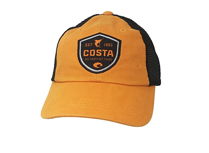a1c162c7af6f5 Image Unavailable. Image not available for. Color  Costa Del Mar Shield  Trucker Hat-Black Orange