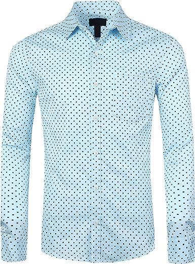 SOOPO Camisa de Manga Larga para Hombres Estampada de Puntos Camisa Lisa y Regular, tamaños