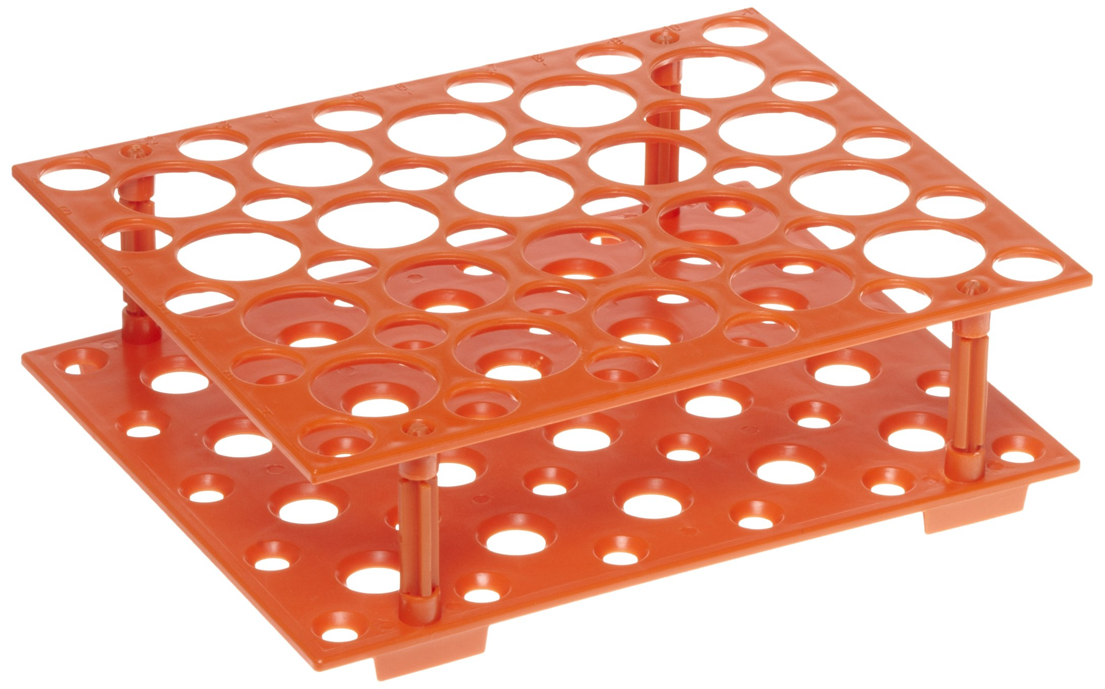 Heathrow Scientific HD24306 Orange Polypropylene Snap Together Conical Tube Rack, 207mm Length x 171mm Width x 60mm Depth