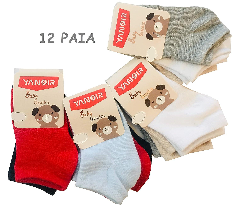 Modello Corto Fantasmino Prima Infanzia 12 Paia Calze Calzini Neonato Bambina in Cotone