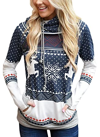 15a44ab98da FIYOTE Women Double Hooded Sweatshirt Long Sleeve Pockets Colorblock Pullover  Hoodie Small Size Blue