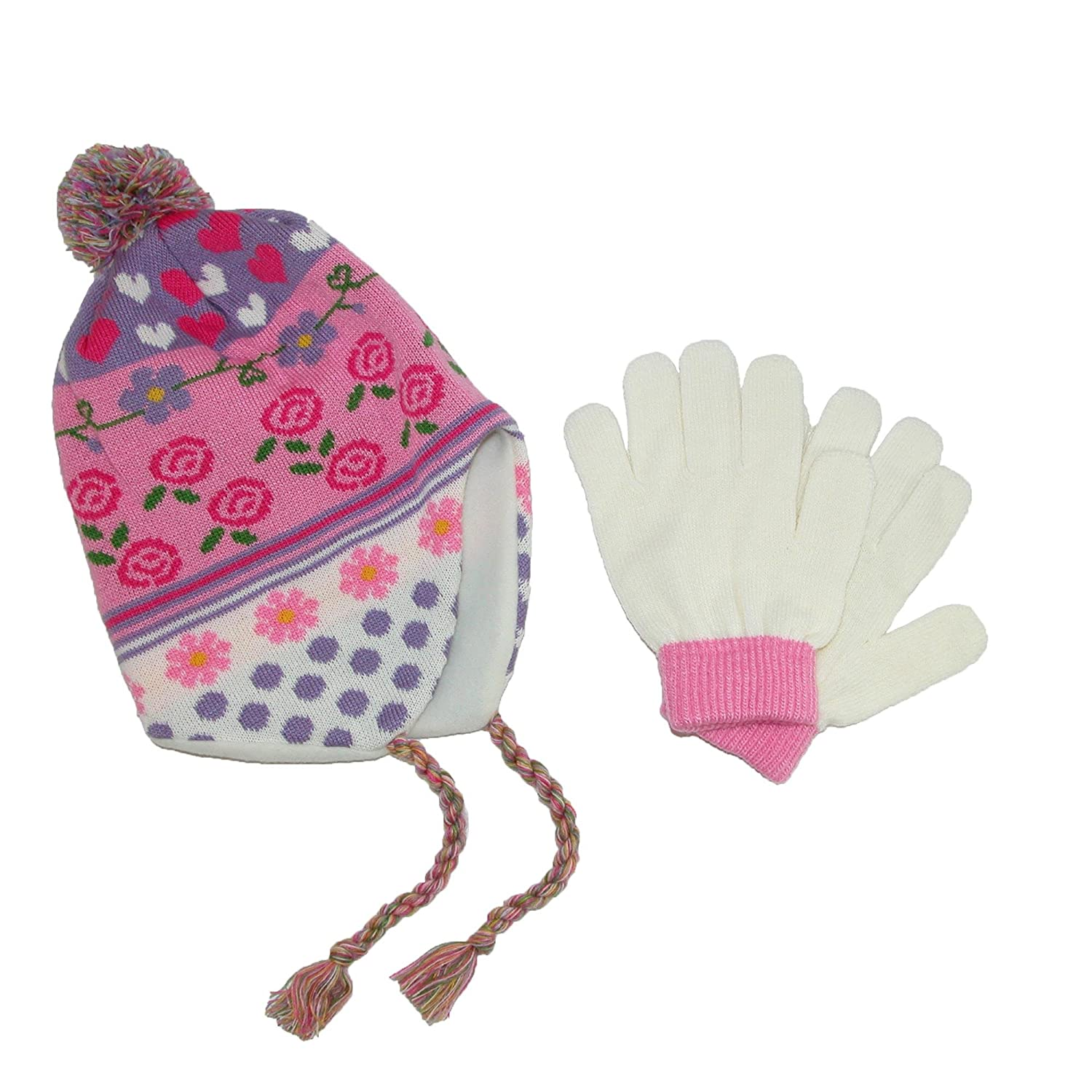 CTM® Girls' 3-6X Peruvian Hat and Glove Set, Pink RG-K2125-PNK