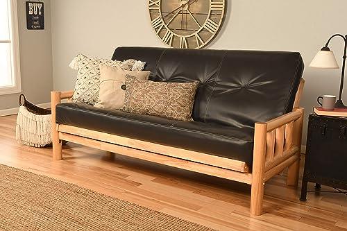 Cabin Lodge Log Futon Frame w up North Premium 8 Innerspring Mattress Sofa Bed Set Sofa Frame Mattress