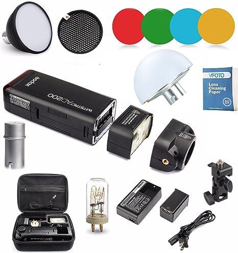 8000s Flash con 2900mAh Litio Bater/ía AD-15 para Canon Nikon Sony AD-S11+AD-S2+AD-17 Godox AD200 Nuevo 2.4G TTL Bolsillo Flash 200Ws TTL HSS 1