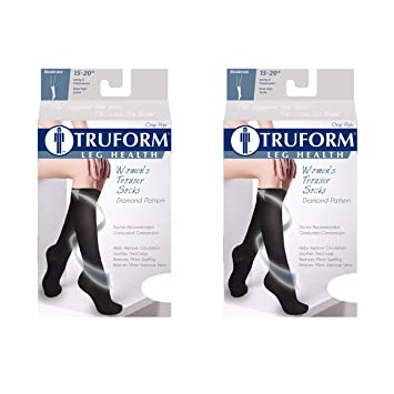 Truform Compression for Women 15-20 mmHg Socks Brown Diamond Pattern, X-Large
