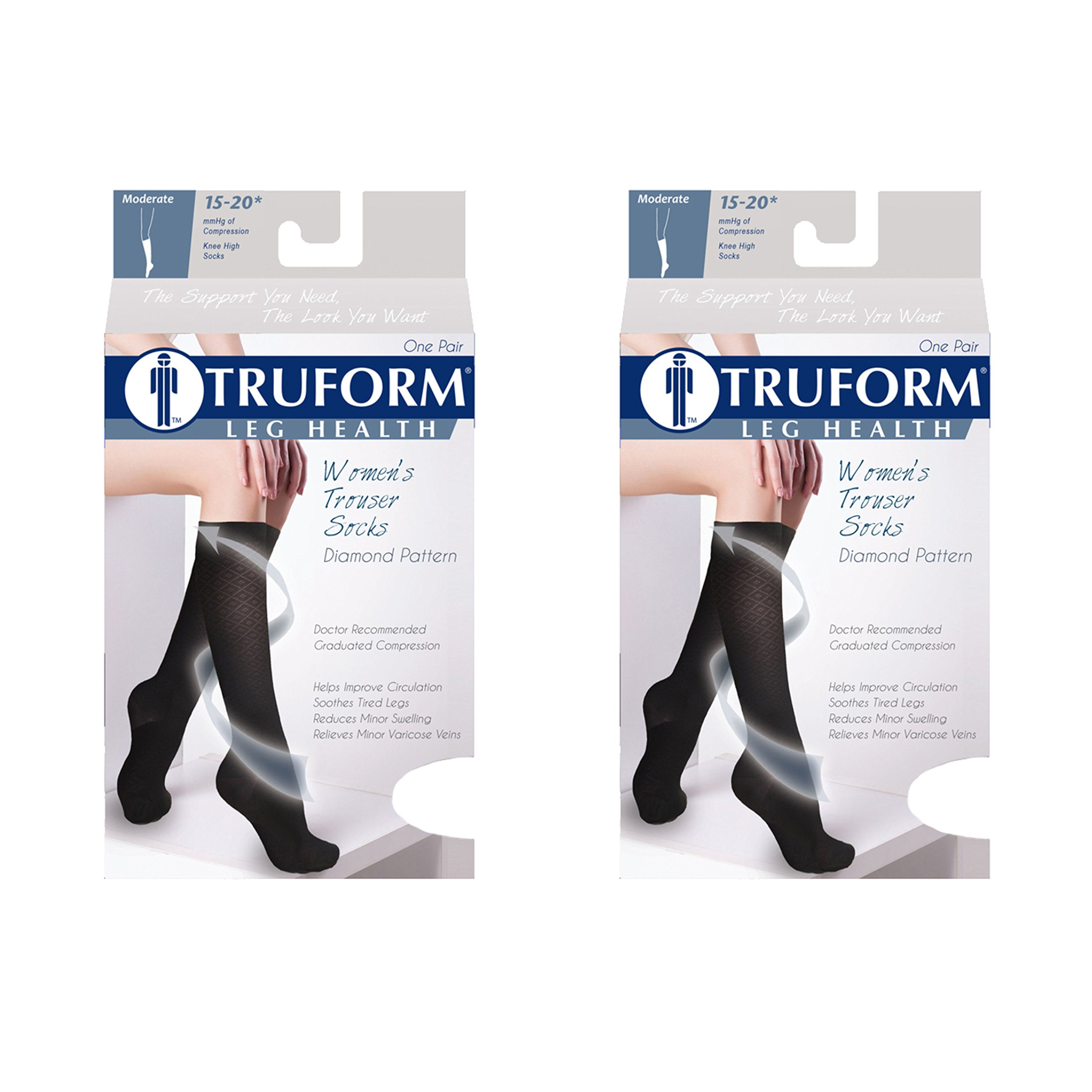 Truform Women's Fit Compression Socks, Diamond Knit Pattern, 15-20 mmHg, Black, Large (Pack of 2)