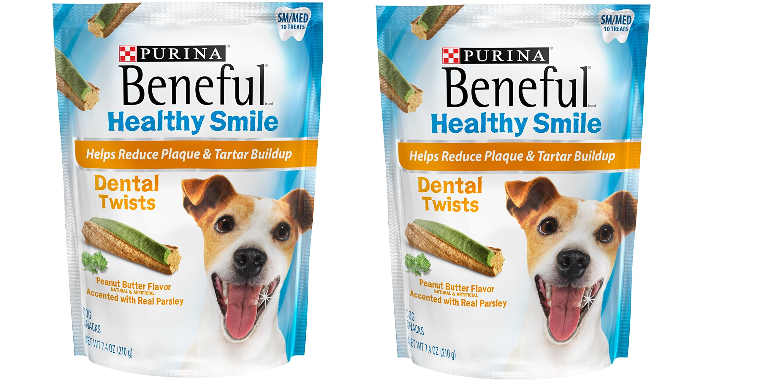Purina Beneful Healthy Smile Dental Dog Treats Adult Small/Medium Twists 7.4 oz. Pouch, Pack of 2