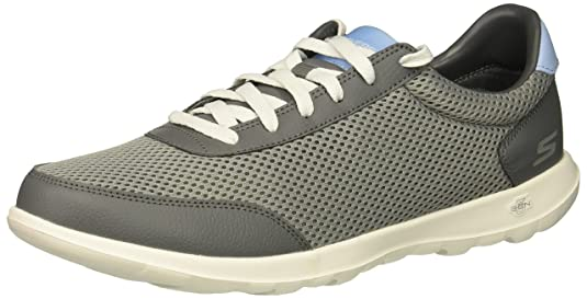 Skechers Women's GO Walk LITE Flare Sneaker, Charcoal/Blue, 7.5 M US