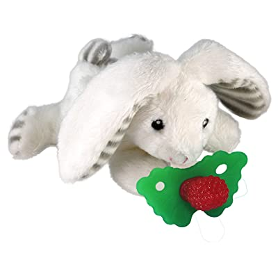 RaZbaby Razbuddy Razberry Teether/Pacifier Holder w/Removable Baby Teether Toy - 0M+ - Bpa Free - Bunny : Baby