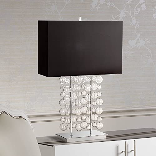 Modern Table Lamp Chrome Clear Bubble Cascade Glass Black Rectangular Shade