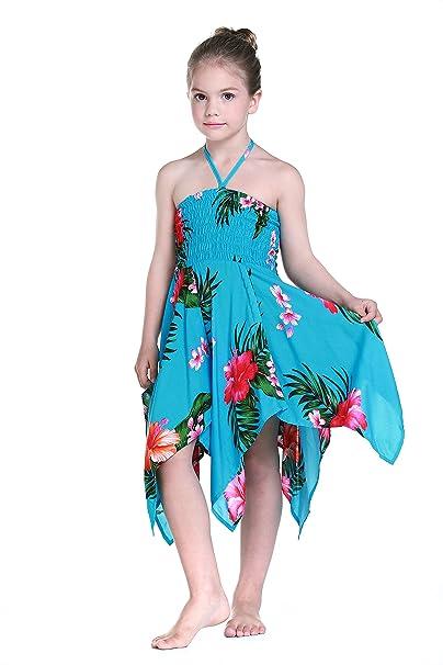Niña gitano Botón desigual Hawaiian Luau vestido en Turquesa 12