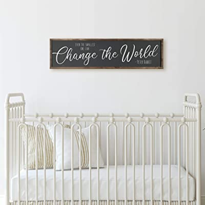Promini Even The Smallest One Can Change The World Wood Frame Sign, Peter Rabbit Nursery Sign Peter Rabbit Quote Winnie The Pooh 6x20 Inch Decorative Wooden Sign: Home & Kitchen