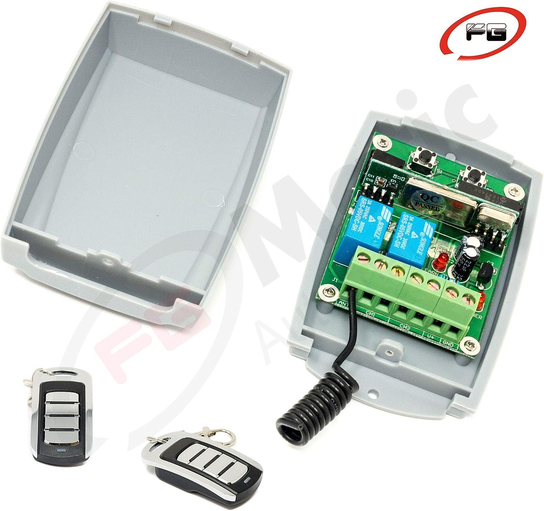 Receptor Universal para puertas de garaje + 2 Mandos Rolling code 433 Mhz. Valido para cualquier tipo y marca de automatismo