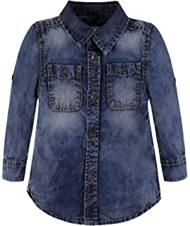 LSERVER Jeanshemd Kinder Jungen M/ädchen Bluse Langarmshirt Top Outdoor Wear