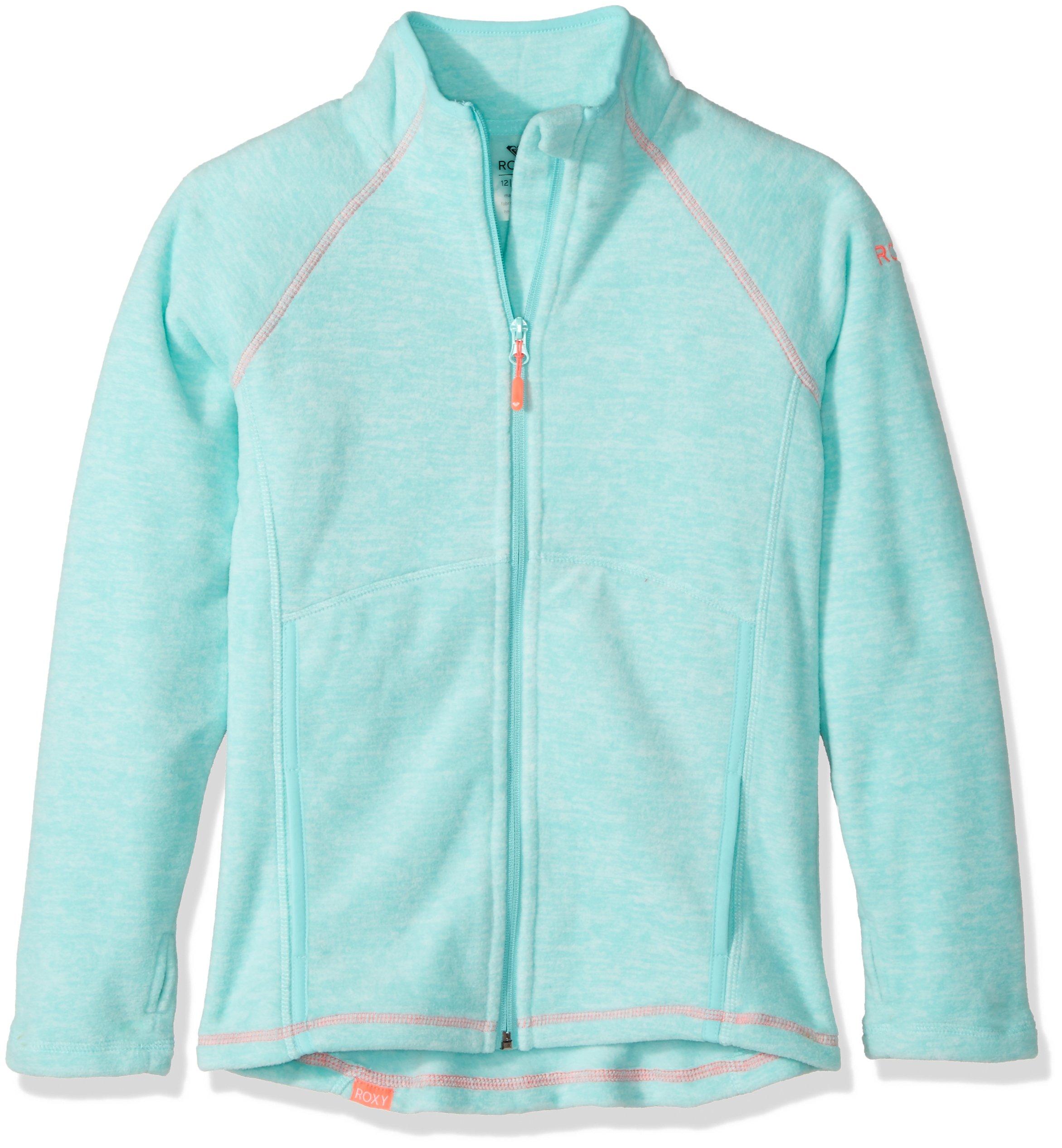 Roxy Big Girls' Harmony Polar Fleece Zip up Jacket, Aruba Blue, 10/M