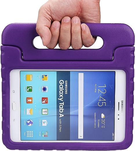ishining Samsung Galaxy Tab A 8.0 Kids Case EVA prueba de golpes caso ligero niños caso Super protector soporte funda para Samsung Galaxy Tab A 8-Inch Tablet SM-T350, color morado: Amazon.es: Electrónica