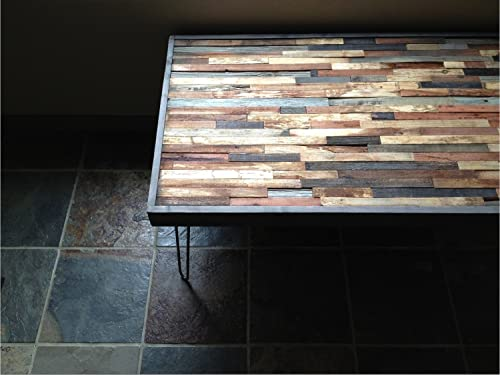 25 OFF SALE – 48 x20 Barn wood Coffee Table – Industrial Furniture – Modern Reclaimed Barn Wood in a Beautiful Mosaic Pattern. Rustic Reclaimed Salvage Wood and Vintage Steel Legs