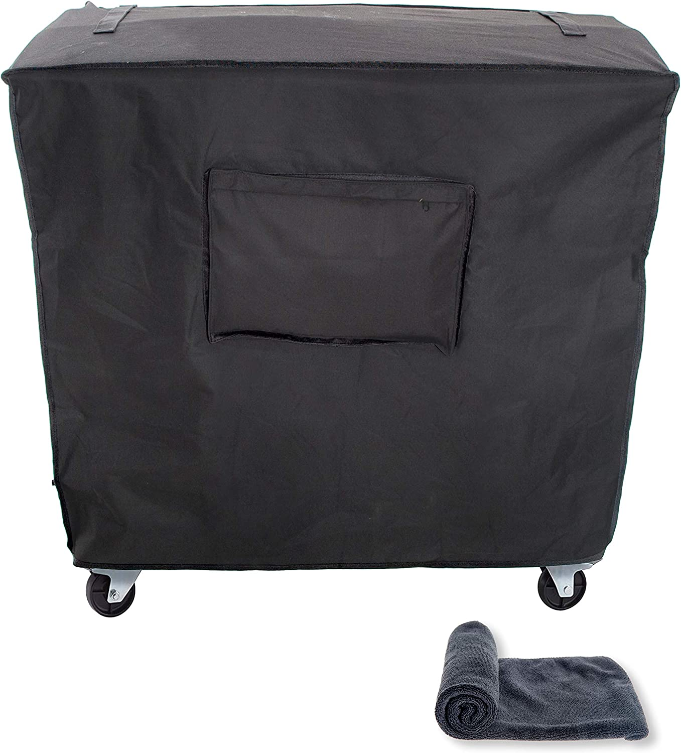 JSD Works Cooler Cart Cover – Fits 80 Quart Rolling Coolers. Waterproof Outdoor Patio Cooler Cover with UV Coating in Black Comes with Microfiber Towel