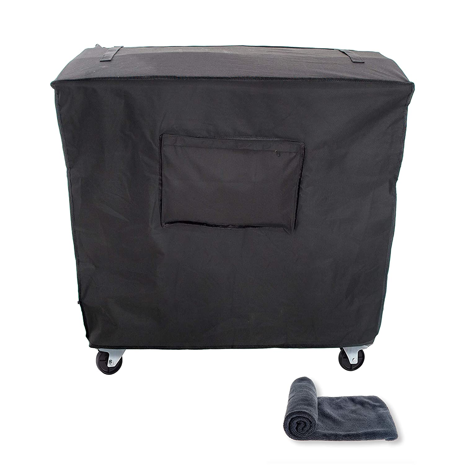 JSD Works Cooler Cart Cover - Fits 80 Quart Rolling Coolers. Waterproof Outdoor Patio Cooler Cover with UV Coating in Black Comes with Microfiber Towel
