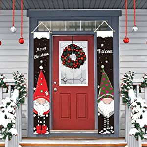 PULIDIKI Christmas Decorations Porch Signs Xmas Decor Porch Banners Front Door Garden Indoor Outdoor Christmas Hanging Banners