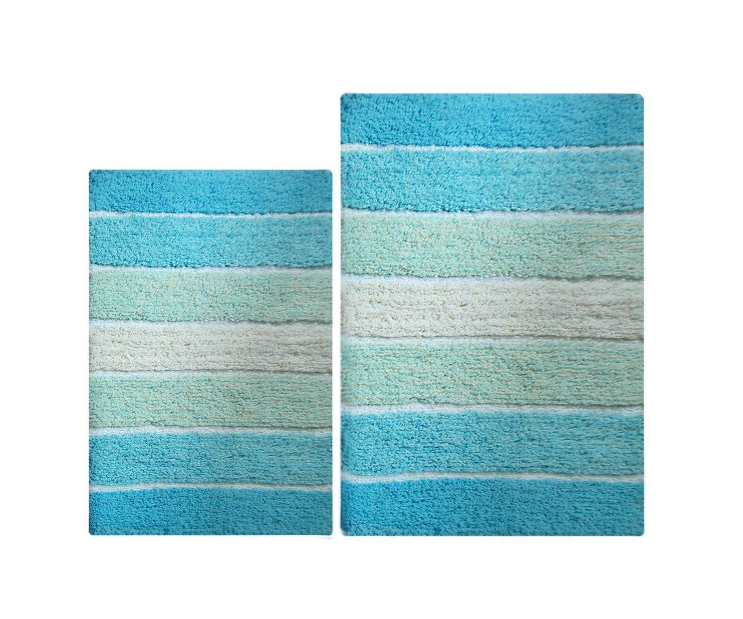 100% Pure Cotton - 2 Piece Cordural Stripe Bath Rug Set, (21''x34'' & 17''x24'') Aqua Turquoise with Latex spray non-skid backing