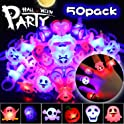 50-Pack Biulotter Halloween LED Light Up Rings
