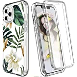 """COANJIUO Women Clear Case Fits iPhone 12 and iPhone 12 Pro (6.1""""), with [Built-in Screen Protector], Rugged Flower Pattern Sh"""
