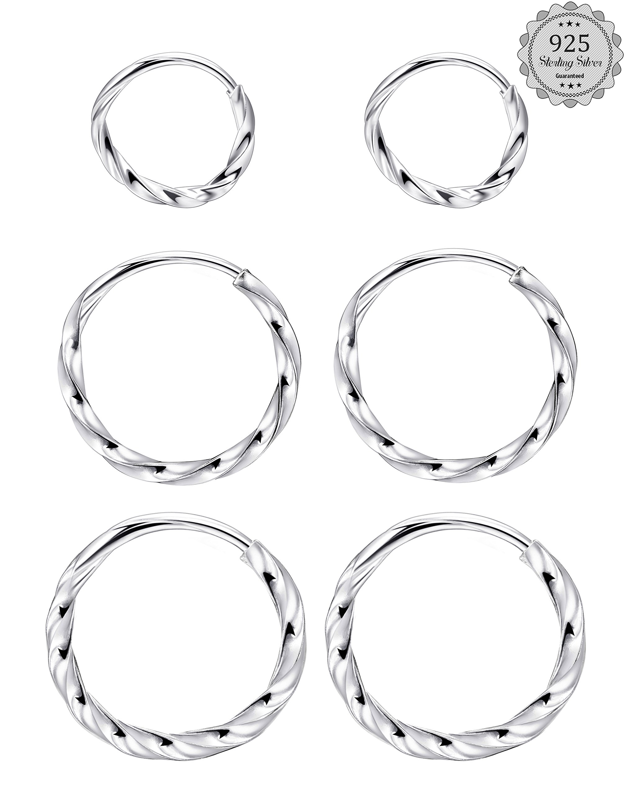LOYALLOOK Sterling Silver Small Hoop Earrings Cartilage Thin Lightweight Unisex Endless Hoop Earrings 3 Pairs