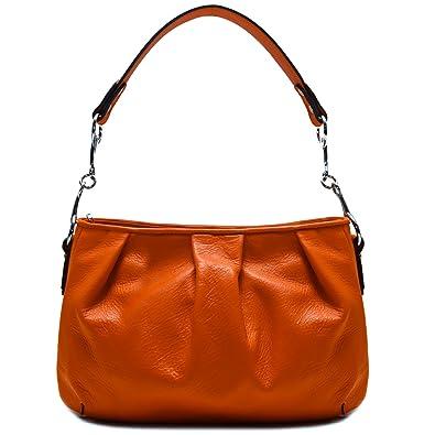 9bdfd62001fc Amazon.com  Floto Firenze Hobo Shoulder Handbag in Soft Orange Calfskin  Leather  Shoes
