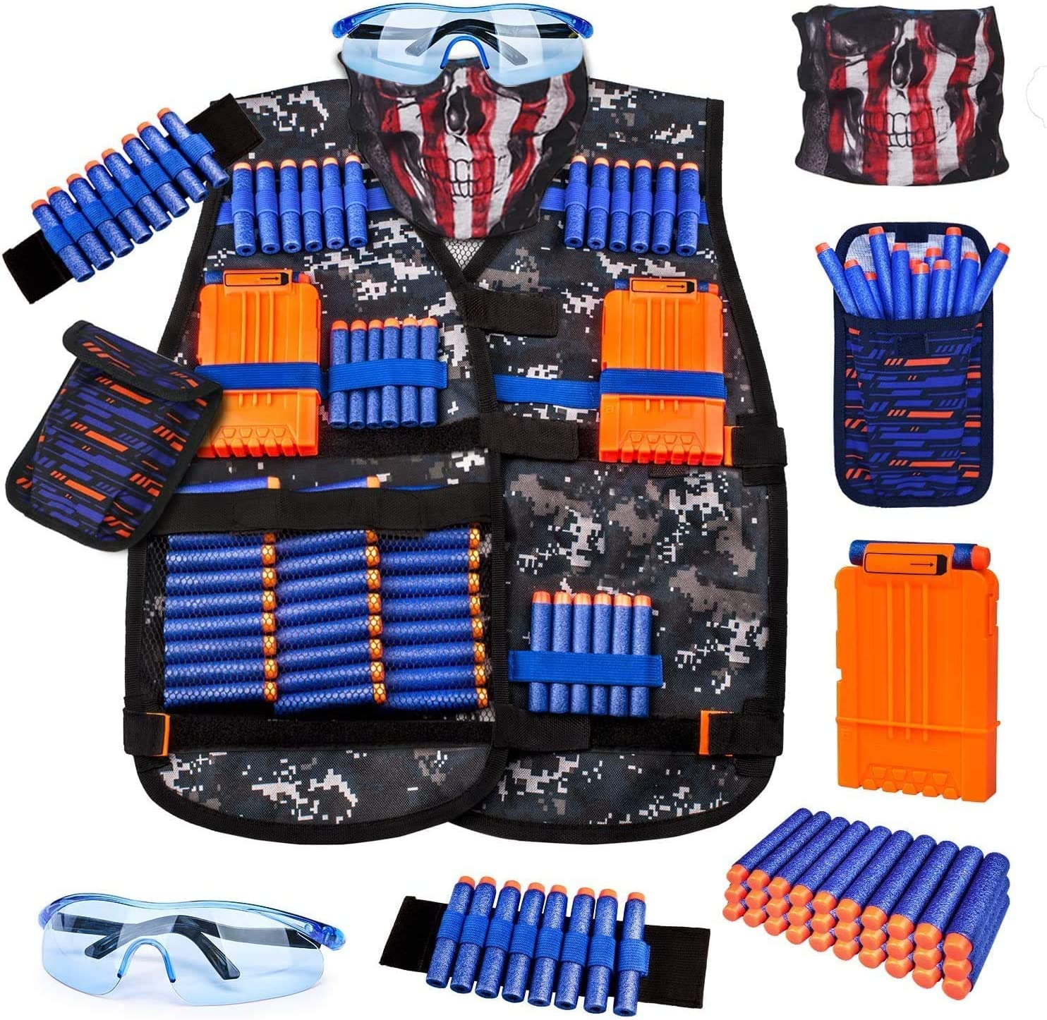 Kids Tactical Vest Kit for Nerf Guns Series with Refill Darts,Dart Pouch, Reload Clips, Tactical Mask, Wrist Band and Protective Glasses,Nerf Vest Toys for 4 5 6 7 8 9 10 11 12 Year Boys