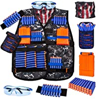 Kids Tactical Vest Kit for Nerf Guns Series with Refill Darts,Dart Pouch, Reload Clips, Tactical Mask, Wrist Band and…