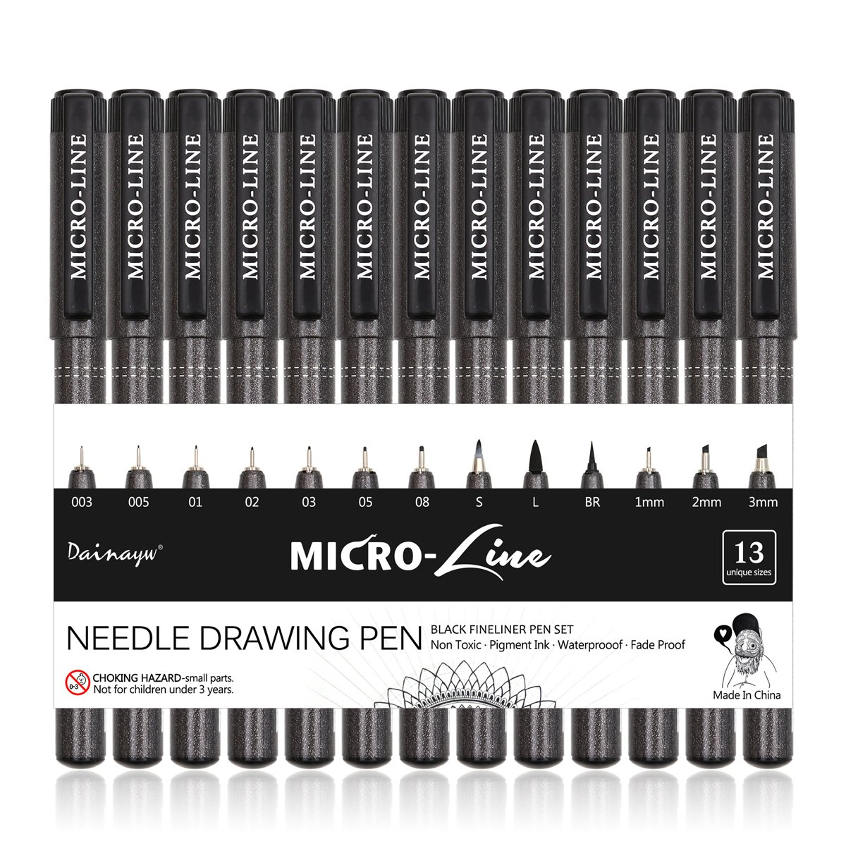Dainayw Black Micro-Line Ink Pens, Fineliner, Multiliner, Waterproof Archival Ink, Calligraphy Brush Pens, Micro-Pen For Artist Illustration, Technical Drawing, Office Documents, Scrapbooking, 13 Pack