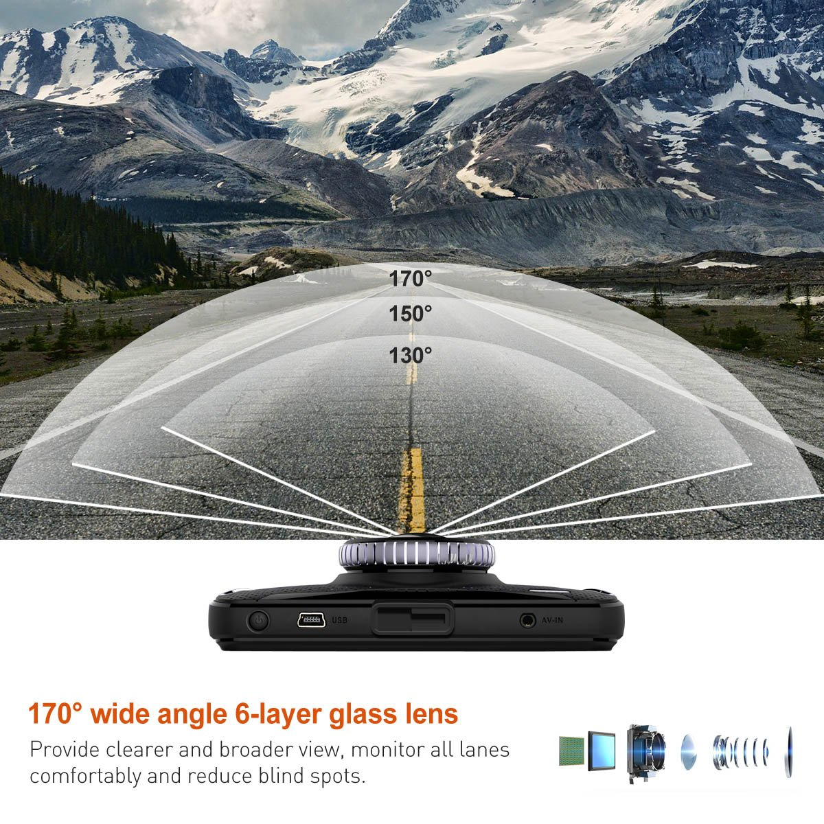 """1080p FHD Dashboard Camera 4/""""LCD Screen Car Camera 170/°Wide Angle,g-Sensor Trochilus Dash Cam Motion Detection 32gb SD Card Included SunWayi 5558991238 Parking Monitor WDR Loop Recording"""