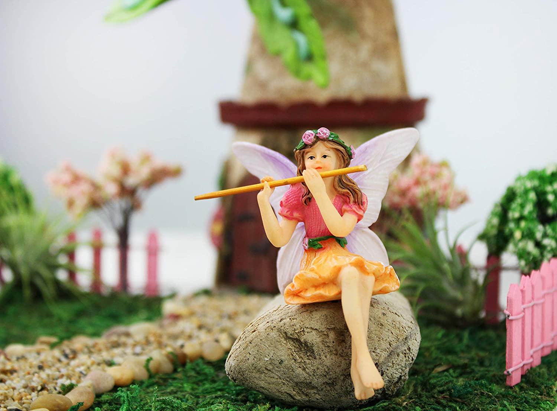 NW Wholesaler - Fairy Garden Fairy Figurines Hand Painted Miniature Fairies (Flute Fairy)