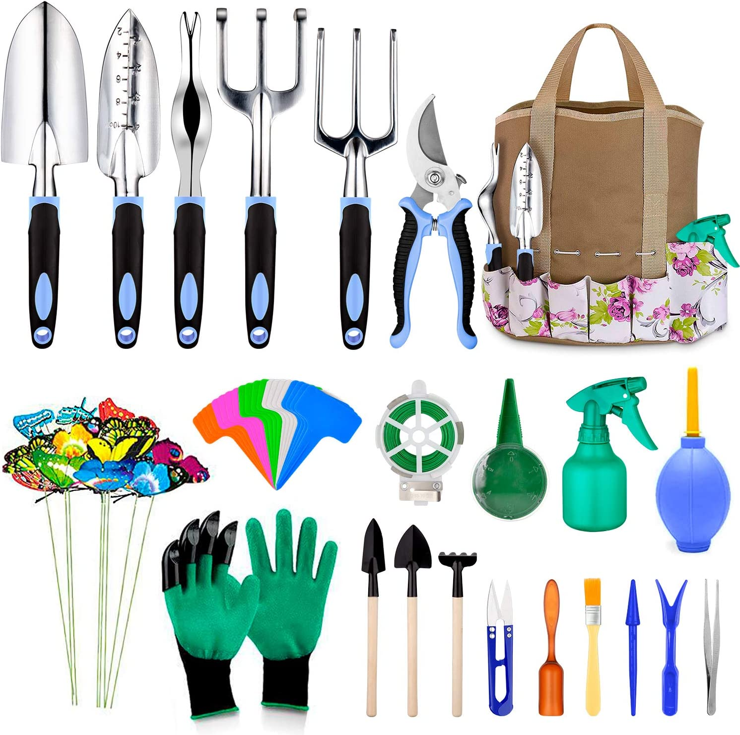 82 Pcs Garden Tools Set, Extra Succulent Tools Set, Heavy Duty Gardening Tools Aluminum with Soft Rubberized Non-Slip Handle Tools, Durable Storage Tote Bag, Gifts for Men (Blue)